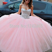 Ball Gown Sweetheart Crystal Beaded Floor Length Soft Tulle Pink Prom Dresses Formal Party Gown Vestido Longo De Festa QM137