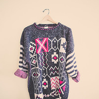 90's 80s Pink Black White Jumper Sweater Tunic Large Stripped Hipster Oversized Cozy Comfy
