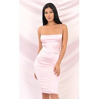 Flash And Dance Pink Satin Slip Sleeveless Spaghetti Strap Square Neck Backless Crisscross Bodycon Midi Dress