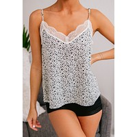 Thrill Of The Chase Leopard Print Tank Top (Ivory)
