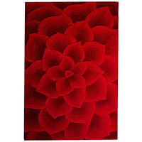 Rose Tufted Rugs - Red