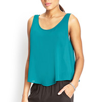 FOREVER 21 Boxy Woven Tank Top Jade