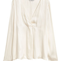 Satin blouse - Natural white - Ladies | H&M GB