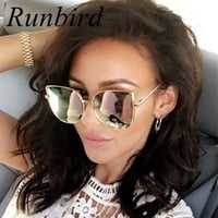 RunBird Fashion Women Sunglasses Cat Mirror Glasses Metal Cat Eye Sunglasses Women Brand Designer High Quality Square Style R058