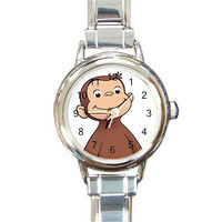 Curious George the Monkey on a Round Silver Metal Charm Watch...NEW