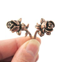 Fake Gauge Earrings: Detailed Rose Floral Flower Shaped Plug Earrings in Copper