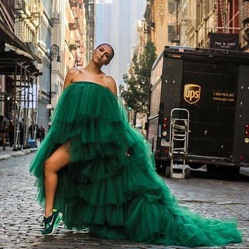 Fashion Tulle Dress Prom Dresses Dark Green Strapless Sweep Train Wedding Guest Dresses Party Gown