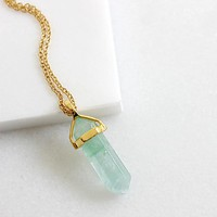Green Fluorite Necklace - Gold