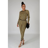 Felyn 2020 Best Quality Fashion Design 2 pieces Tracksuits Women Set Print O-neck Tops Long Pants Spring Sports Suits DD8543
