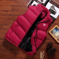 ADIDAS Clover 2018 new winter vest shoulder heating jacket tide section wear down cotton vest vest Red