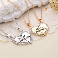 Charming Splice Heart Pendant Best Friend Letter Necklace Women Gifts 2 Color Pick Jewelry
