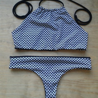 Chevron reversible bikini SET. Brazilian bikini set, Super cheeky bikini bottom, Christmas gift. Gifts for her, gift for women