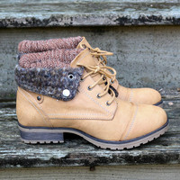 Mountain Trek Sweater Boots Tan Cuffed Booties