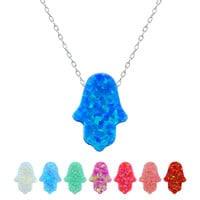 Hot Fahion Opal Hamsa Hand Pendant Choker Necklace  Beautiful  Maxi Necklace Women/Girl  925 Real Silver Chain  Body  Jewelry