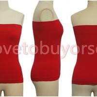 Womens Sexy Casual Stretch Strapless Seamless Basic Tube Top Solid One Size