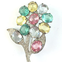 Vintage Colorful Rhinestone Flower Brooch Antique 40s Pink Green Yellow Crystal Floral Pin Spring Wedding Bridal Brooch Estate Jewelry