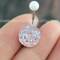 Sparkling belly ring,blingbling belly button ring,Clear and Pink Purple Navel , Navel Piercing Ring Stud Piercing