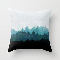Woods Abstract Throw Pillow by Mareike Böhmer Graphics