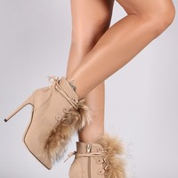 Liliana Fur Accent Lace Up Ankle Booties
