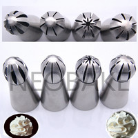 NEW 4PCS/ SET Sphere Ball Shape Cream Stainless Steel Icing Piping Nozzles Pastry Tips Cupcake Buttercream Bakeware Bake Tool