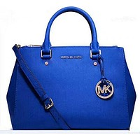 MICHAEL KORS Women Shopping Fashion Leather Satchel Shoulder Bag Crossbody Blue