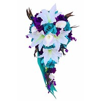 Cascade bouquet - Jade Teal, White, and Purple Artificial Flowers with Peacock Feathers