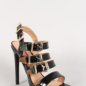 Patent Buckle Strappy Open Toe Stiletto Heel