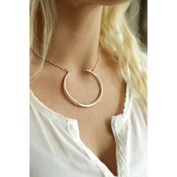 Crescent Moon Layering Necklace - Silver or Gold