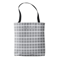 Personalized Gray Plaid Tote Bag