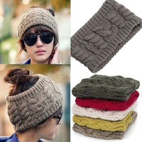 Fashion Korean Winter Warm Women Braided Knit Wool Hat Cap Headband Hair bands-TQ-Hat07 = 1958467908