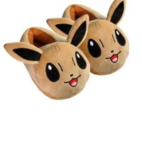 Fatflyshop - Pokemon Eevee Anime Cartoon Plush Indoor Bedroom Winter Warm Slipper 11""