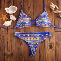 Summer Ethnic Print Swimsuit Vintage Bathing Suit Women Bikinis Set