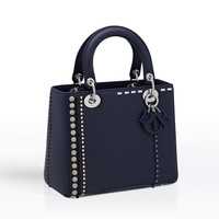 """""""lady dior"""" bag in calfskin studded with beads and rhinestones - Dior"""