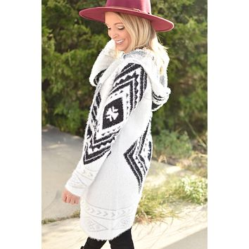 Stepping Out Cardigan - Ivory/Black