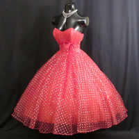 Vintage 1950's 50s Bombshell Strapless RED Silver Metallic Tulle Velvet Party Prom DRESS