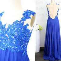 Lace Chiffon Royal Blue Prom Dresses, Couture Royal Blue Chiffon  Long Formal Dress, Straps Long Lace Chiffon Prom Gown