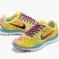 """NIKE"" Women's Trending Fashion Casual Flower Print Yellow Sports Shoes"