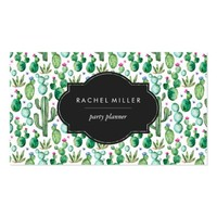 Green Watercolor Cacti Business Card