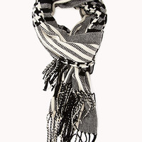 FOREVER 21 Remixed Plaid Scarf Black/Cream One