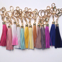 Leather Tassel Keychain - Black, Mint, White, Pink, Gray. Gold Plated Keyring Bag Charm