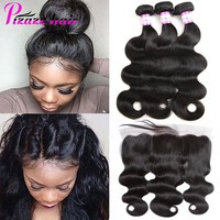 Pizazz Human Hair 3 Bundles With Frontal Closure Brazilian Body Wave 13x4 Ear to Ear Lace Frontal Closure With Bundles