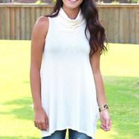 High Neck Lace Splice Tank {Oatmeal}