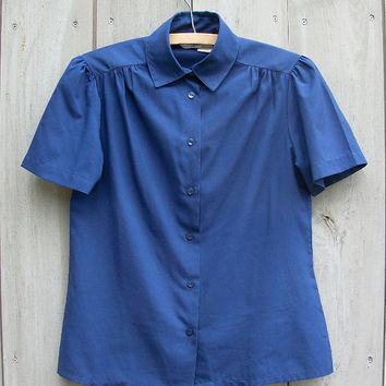 Vintage shirt - sweet and simple navy short-sleeved blouse