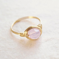 Solitaire Pink Opal ring - unique ring - cute ring - wire wrapped ring - bohemian jewelry
