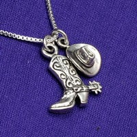 Silver Cowgirl Hat and Boot Charm Necklace in Sterling Silver, Cowgirl, Cowgirl Pendant, Cowgirl Boot Pendant,  Cowgirl Hat Pendant, Wester