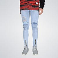 Distressed holes Zip skinny with Pleated patchwork slim fit biker jeans