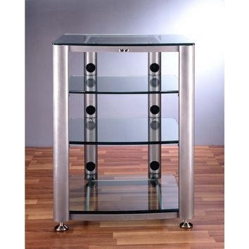 HGR Series 4 Shelf Audio Rack Multiple Finishes Glass Shelves