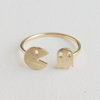 Cute Pacman adjustable ring in gold