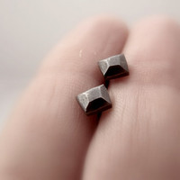 Geometric silver stud earrings, faceted square