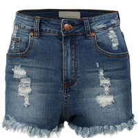 LE3NO Womens High Waisted Frayed Denim Jean Shorts (CLEARANCE)